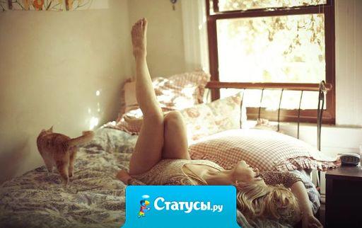 Дорогой вот кто так заправляет постель? Смотри! Сначала простыня, потом подушка, потом я, потом одеяло, ещё одеяло и сверху кот!